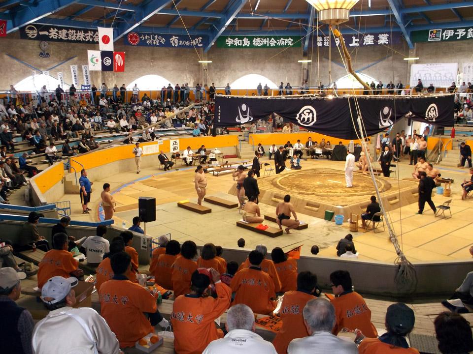 愛媛県の学友26人が相撲部を応援
